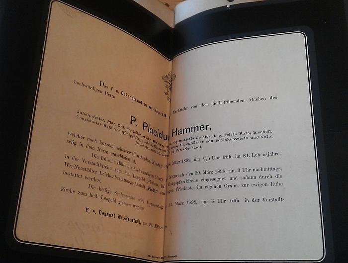 Jeho parte v pamětní knize českobudějovického německého gymnázia