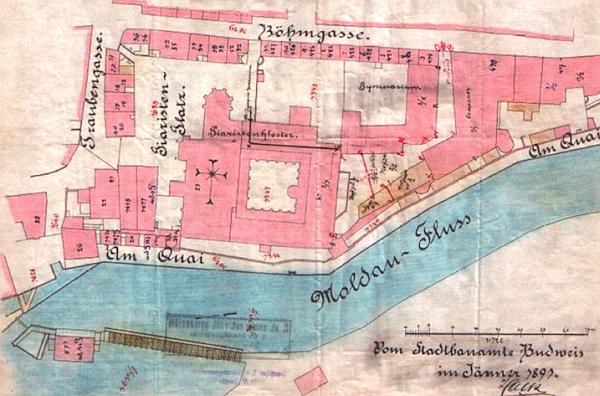 Plán z roku 1891 zachycuje situaci před stavbou nové budovy gymnásia