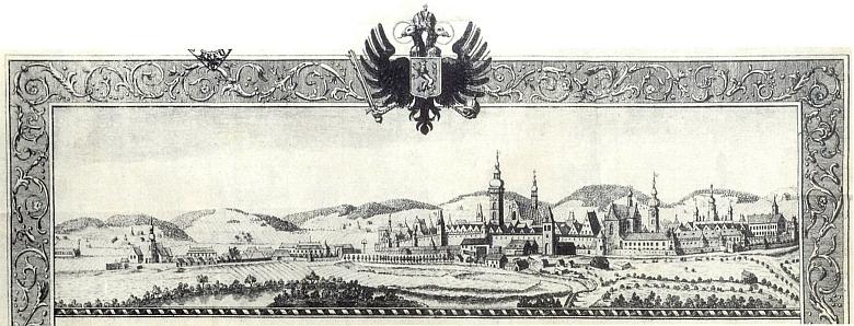 České Budějovice na konci 18. století s dosud patrným Svatováclavským špitálem a kostelem