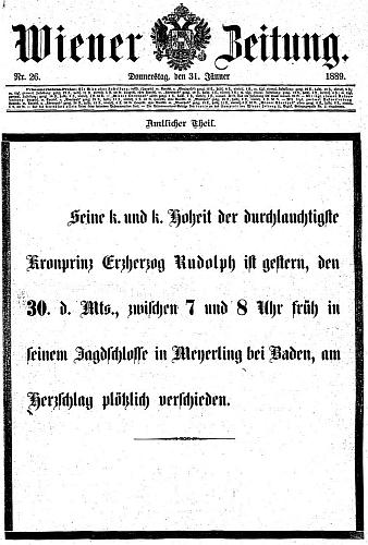 Titulní list vídeňského listu s oznámením princova skonu