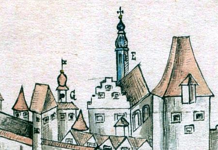 Špitální kostelík sv. Václava na vedutě Českých Budějovic z roku 1785