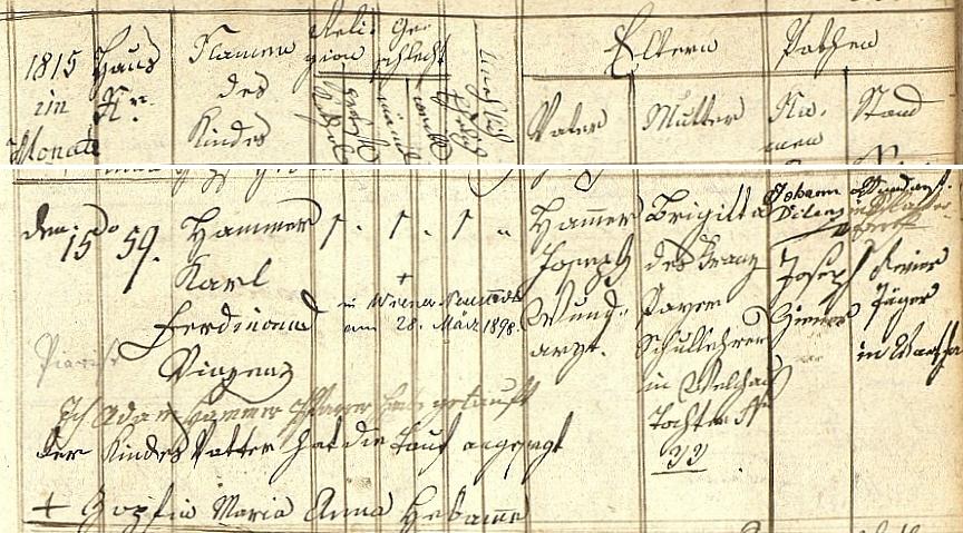 Záznam o jeho narození ve velichovské křestní matrice