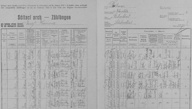 Arch sčítání lidu z roku 1921 pro stavení čp. 3 v Suchdole s manželi Hammerovými