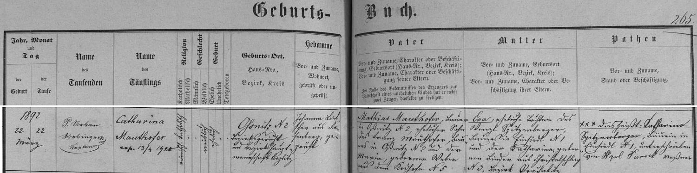 Záznam matriky farní obce Rožmberk nad Vltavou o narození jeho ženy v Sosnici čp. 2