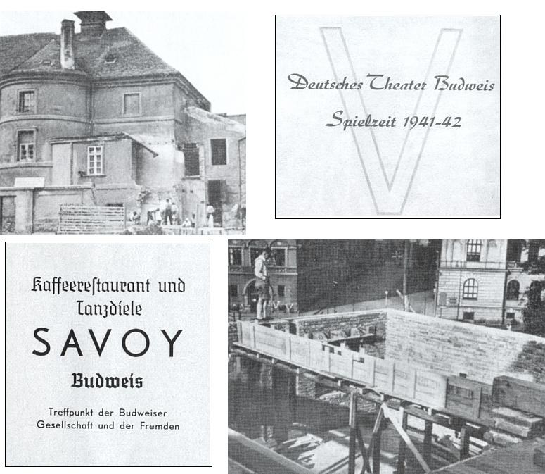 Přestavba divadelní budovy, zejména pak jejího zadního traktu s podloubím obráceným k někdejšímu Německému domu a městskému muzeu, započalo v sezóně 1941-42 (inzerát na kavárnu, restaurant a tančírnu Savoy připomíná, že i on byl majetkem budějovické stavitelské rodiny Stepanových, kam se přiženil architekt divadelní přestavby Ceno Kosak)