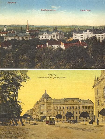 Na pohlednicích z počátku 20. století je ještě vidět mezera mezi později postavenou budovou s kupolí (tehdy okresní zastupitelstvo) a Stegmannovou firmou, dnes jsou oba domy spojeny