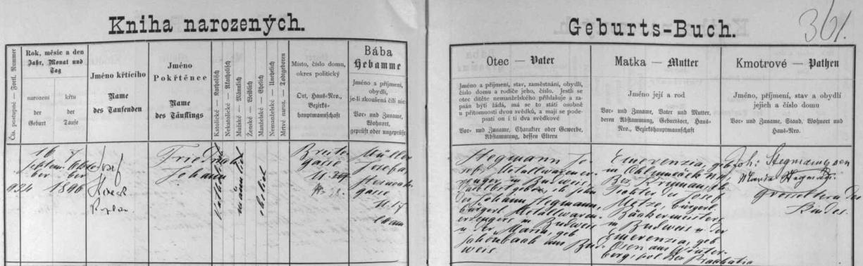 Záznam o narození jejího otce Fritze Stegmanna v českobudějovické křestní matrice