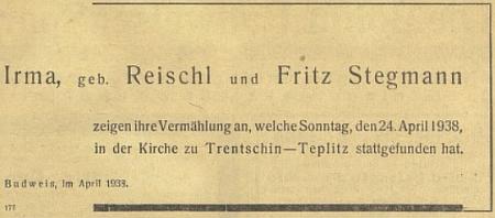 Její rodiče oznámili takto svou svatbu 24. dubna 1938 vTrenčanských Teplicích na stránkách budějovických německých novin