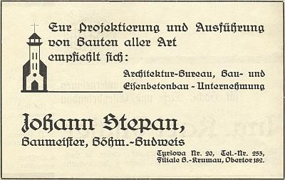 Inzerát firmy Johann Stepan v publikaci Johanna Grundla a Hanse Foschuma o novém kostele ve Větřní zdramatického roku 1938 - realizace jeho stavby byla svěřena právě Stepanově firmě