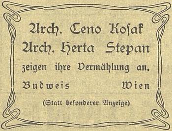 Oznámení o svatbě Ceno Kosaka na stránkách českobudějovického německého listu