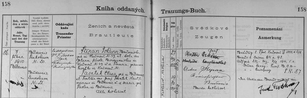 Záznam v českobudějovické oddací matrice o svatbě Johanna Stepana, otce Herthy Stepanové, provd. Kosakové, sClarou Taschekovou - vpravo dole vidíme podpis Josefa Tascheka, otce nevěsty