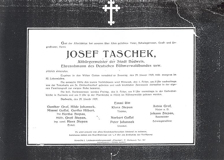 Parte Josefa Tascheka, na kterém je mezi pozůstalými uvedena i jeho vnučka Ing. Hertha Stepanová, později provd. Kosaková