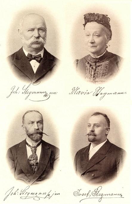V galerii zakladatele firmy se ženou a jeho syny je Josef Stegmann jejím dědečkem