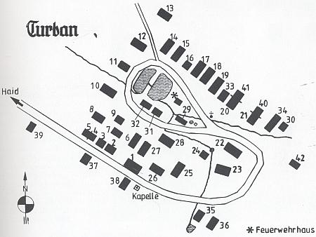 Plánek vsi Borovany (Turban) na Tachovsku s dědovým stavením čp. 3