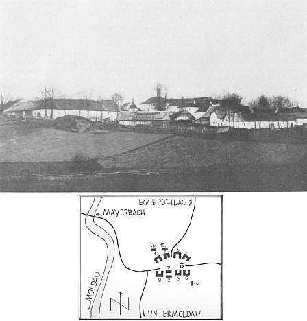 Celkový pohled na obec s plánkem