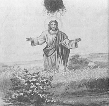 Nástropní malba Kristus v obilném poli v radslavské kapli, jak ji r. 1936 vytvořil Adolf Tussetschläger z Mayerbachu (rovněž zaniklá Dolní Borková), nad Kristovou hlavou se černá opuštěné vlaštovčí hnízdo