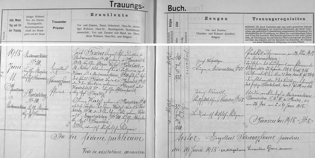 """Záznam o sňatku otcovy sestry Anny ze statku čp. 10 v Radslavi v červnu 1918 s kovářským mistrem a vdovcem Fischerem, rodem z rakouského Baureithu blízko Aigenu, prozrazuje na stránkách dolnovltavické """"Knihy oddaných"""", že na rodném stavení Herminině hospodařil před otcem její děd Franz Watzl (babička Franziska, roz. Keferová, pocházela z Bližné čp. 10)"""