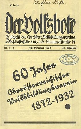 """Obálka """"Stifterova čísla"""" časopisu Der Volksbote s jejím textem"""