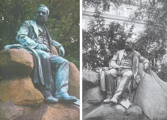 """Památník Adalberta Stiftera na """"promenádě"""" v Linci, jehož autorem je Johann Rathausky (1902)"""