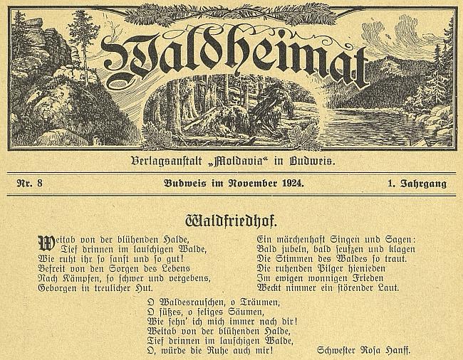 """Její báseň při záhlaví listopadového čísla 1. ročníku """"Waldheimat"""""""