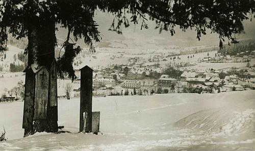 Železná Ruda v zimě na staré pohlednici