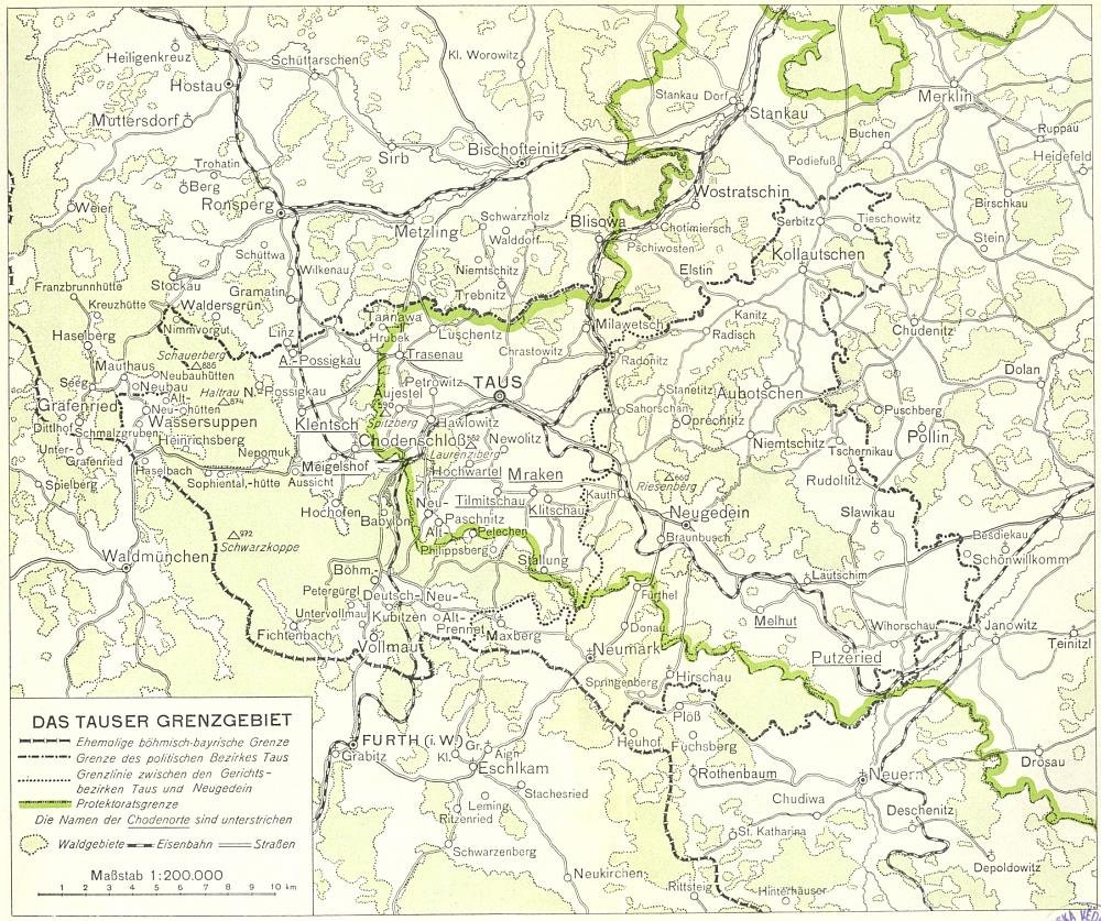 Mapa chodského příhraničí z jeho knihy s vyznačením staré a nové (protektorátní) hranice uvádí i na území jazykově českém německá místní jména