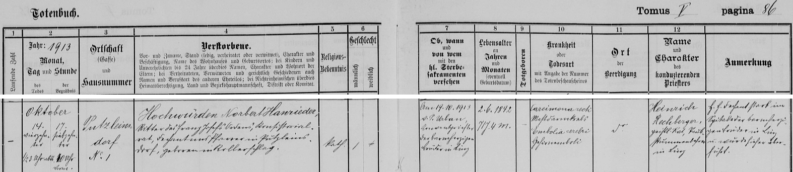 Záznam o jeho úmrtí v knize zemřelých farní obce Putzleinsdorf