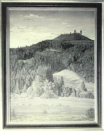 Originál oleje Rudolga Fröhlicha z obálky Hoam!, zde včernobílé reprodukci, má rozměry 70x90 cm a vznikl vletech1943-1944