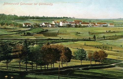 """Rodná Dobrá Voda (někdy česky zvaná i """"Březnice"""") na pohlednici Josefa Seidela"""