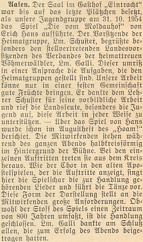 """O uvedení jeho divadelní hry """"Die vom Moldauhof"""" (tj. """"Ti z Moldauhofu"""") skupinou mladých v Aalen"""