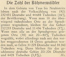 """Noticku o obyvatelstvu Šumavy podle sčítání lidu roku 1921 podepsal zřejme on šifrou """"Hs."""" (nakonec mu vychází jen 3,5% Čechů)"""