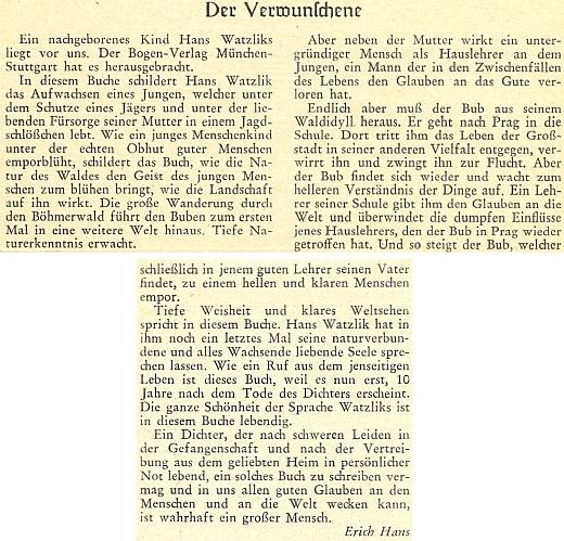 """Recenze posmrtně vydané Watzlikovy knihy """"Der Verwunschene"""", kterou Erich Hans napsal do přílohy měsíčníku """"Hoam"""", určené mládeži, v roce 1958"""