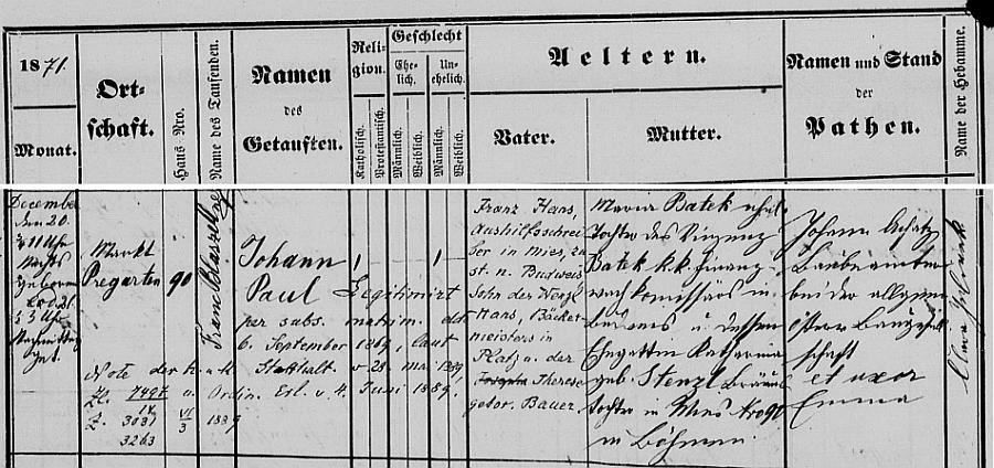 Z tohoto záznamu křestní matriky hornorakouského města Pregarten vysvítá, že Erichův otec Johann Paul Hans se narodil 20. prosince roku 1871 ve tři čtvrtě na jedenáct v noci v Prägarten (jak se tehdy místní jméno psalo) čp. 90 a Johannův otec, tedy Erichův děd Franz, pomocný učitel ve Stříbře (Mies), příslušný domovsky do Českých Budějovic (!), byl synem pekařského mistra Wenzla Hanse ve Stráži nad Nežárkou (Platz an der Naser), který podle laskavého sdělení Jarmily Hansové, pátrající po svých rodových kořenech, zemřel 8. ledna roku 1886 ve Velešíně - Erichova matka byla podle záznamu dcerou c.k. komisaře finanční stráže v Českých Budějovicích Vinzenze Bateka a jeho manželky Kathariny, roz. Stenzlové, sládkovy dcery (Bräuerstochter) ve Stříbře čp. 90