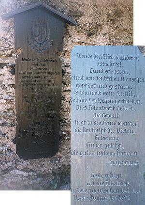 Umrlčí prkno na Javoru s textem Hansovým