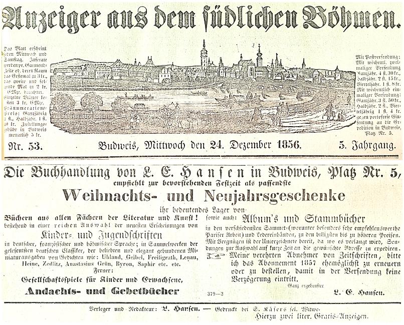 Záhlaví, inzerát a impressum v posledním vánočním čísle 5. ročníku listu Anzeiger aus dem südlichen Böhmen, který toho roku 1856 Ludolf Emil Hansen vydával a redigoval
