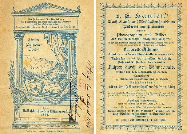 Obálka (1894) textu hořických pašijových her s inzerátem Hansenovy firmy na zadní straně