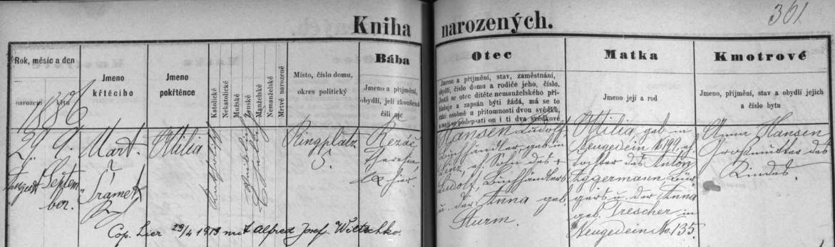 Záznam o narození jeho dcery Ottilie 29. srpna roku 1886 v českobudějovické matrice s přípisem o její svatbě v dubnu 1913 s Alfredem Josefem Wiltschko - podepsána je tu i babička novorozeněte Anna, roz. Sturmová - a s dalšími údají omanželce Ludolfa Edmunda Hansena: byla dcerou Antona Aggermanna a Anny, roz. Trescherové, obou ze Kdyně na Šumavě (Neugedein)