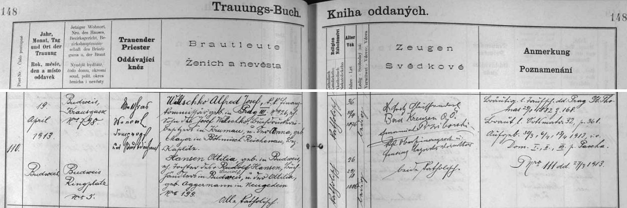 Dcera Ottilie si tu 19. dubna roku 1913 bere za muže Alfreda Josefa Wiltschko, syna českokrumlovského knihtiskaře Josefa Wiltschko a jeho ženy Anny, roz. Mayerové