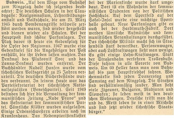 Situační zpráva krajanského měsíčníku z roku 1954 zmiňuje i odsouzení Rudolfa Hansena ke 25 letům vězení a spálení knižních skladů