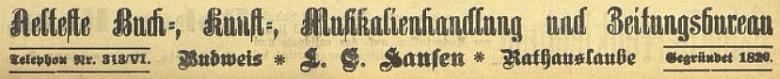 """Inzerát v českobudějovickém německém listě upozorňuje, že Hansenova firma v """"radničním podloubí"""" je nejstarší veměstě"""