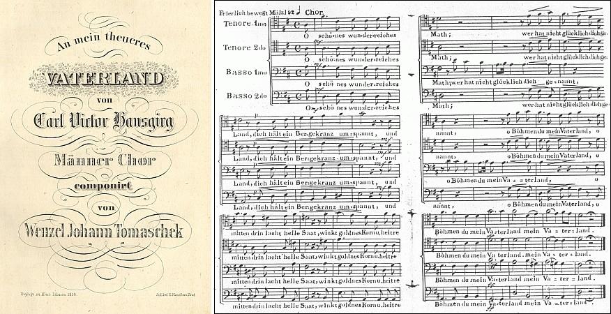 Záhlaví a notový záznam jeho skladby Na mou drahou otčinu, kterou zhudebnil Václav Jan Tomášek