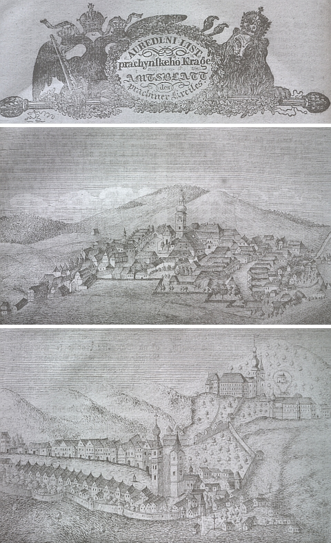 """Kašperské Hory a Vimperk na vedutě z """"Auředlního listu prachynského kraje"""" pro rok 1855 a 1856"""