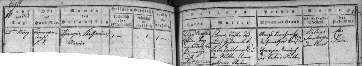 Záznam českobudějovické křestní matriky o jejím narození