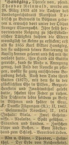 Obsáhle ji zmiňuje i slovník německých básníků aprozaiků z roku 1913
