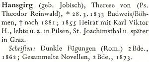 Její heslo v novějším německém loterárním lexikonu spřeklepem či špatně přečteným rodným příjmením