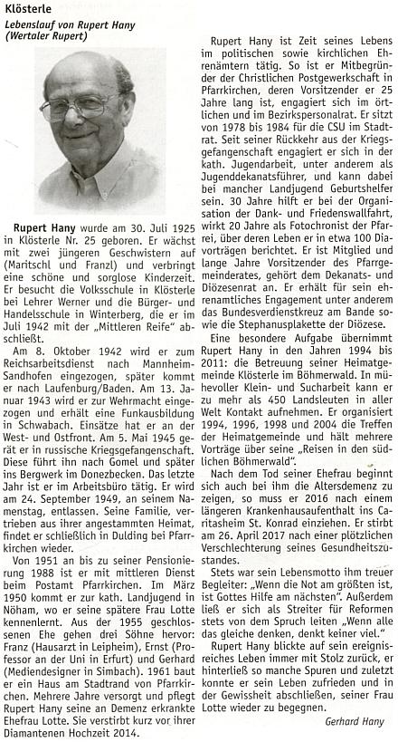 Jeho nekrolog na stránkách krajanského měsíčníku