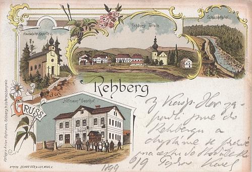 Malovaná pohlednice Srní