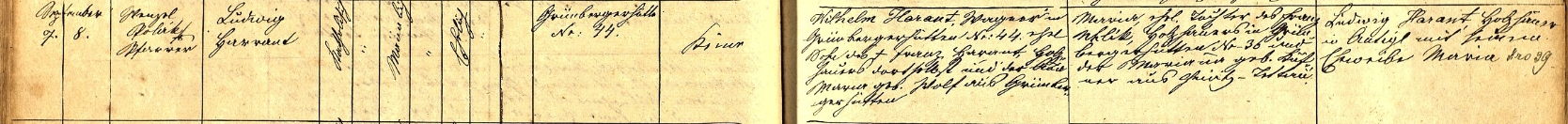 Záznam o jeho narození v křestní matrice obce Srní