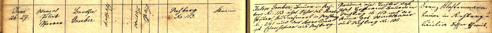 Záznam o narození jeho ženy Berthy v Srní