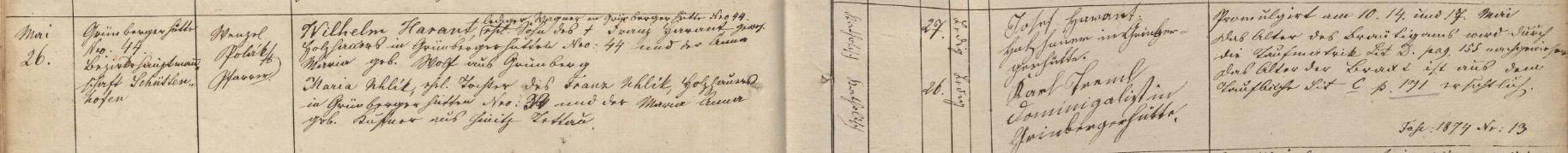 Záznam oddací matriky farní obce Srní o zdejší svatbě jeho rodičů v květnu roku 1874
